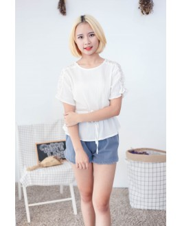 Korea Lace Trim Short Sleeve Blouse (White)