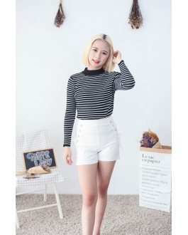 Korea Lace Up Elastic High Waist Short Pant (White)