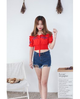 Korea Embroidery Flower Off Shoulder Top (Red)