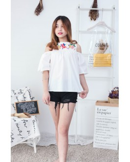 Korea Embroidery Flower Cold Shoulder Top (White)