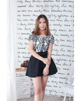 Korea Embroidery Flower Sleeveless Top (Black)