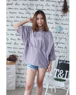 Korea Oversize Hoodie Long Tee (Purple)