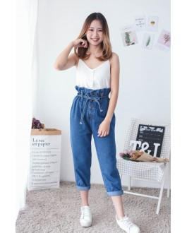 Korea Elastic Button Long Pant With Ribbon Belt (Blue)