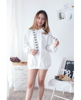 Korea AN Hoodie Dress (White)