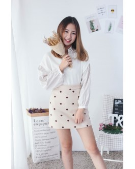 Korea Fake Two Piece Knit Stripe Blouse (White)