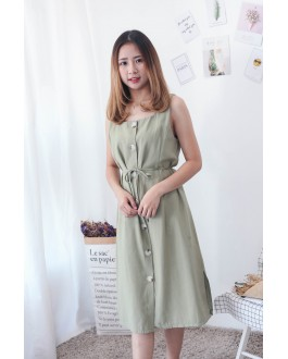 Korea Button Sleeveless Dress (Light Green)