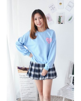 Korea Love Shape Long Sleeve Top (Blue)