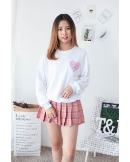 Korea Love Shape Long Sleeve Top (White)