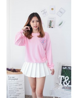 Korea Love Shape Long Sleeve Top (Pink)