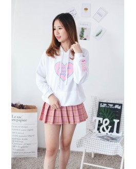 Korea Love Shape With Pocket Hoodie Top (White)