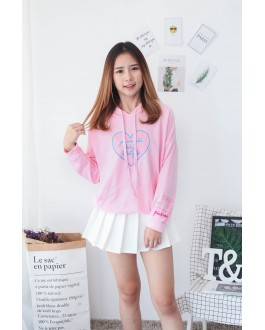 Korea Love Shape With Pocket Hoodie Top (Pink)
