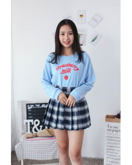 Korea Strawberry Long Sleeve Top (Blue)