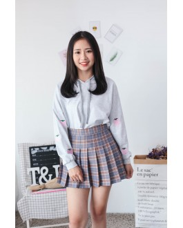 Korea Strawberry With Pocket Hoodie Top (Grey)