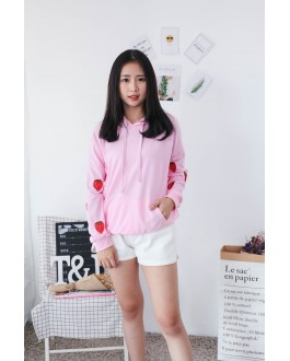 Korea Strawberry With Pocket Hoodie Top (Pink)