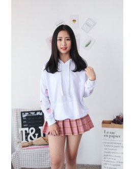 Korea Strawberry With Pocket Hoodie Top (White)