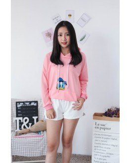 Korea Disney Donald Duck With Pocket Hoodie Top (Pink)