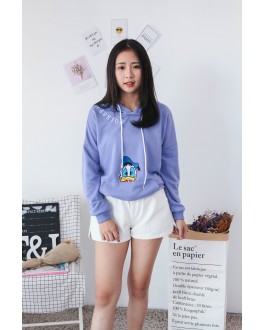 Korea Disney Donald Duck With Pocket Hoodie Top (Purple)