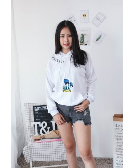 Korea Disney Donald Duck With Pocket Hoodie Top (White)