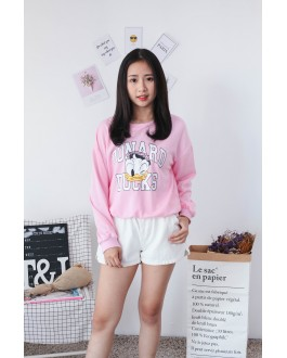 Korea Disney Donald Duck Long Sleeve Top (Pink)