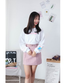 Korea Ice Cream & Staff Long Sleeve Top (White)