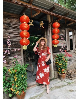 Korea Flora Short Sleeve Long Dress (Maroon)