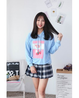 Korea Strawberry Hoodie Top (Blue)