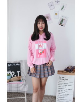 Korea Strawberry Hoodie Top (Pink)