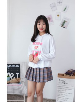 Korea Strawberry Hoodie Top (White)
