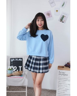 Korea Embroidery Love Shape Long Sleeve Top (Blue)