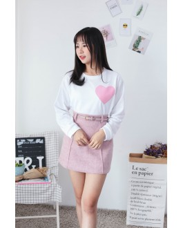 Korea Embroidery Love Shape Long Sleeve Top (White)