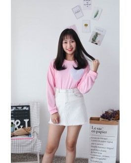 Korea Embroidery Love Shape Long Sleeve Top (Pink)