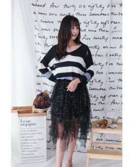 Korea Bling Bling Starry Elastic Waist Layered Mess Skirt (Black)