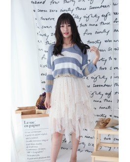 Korea Bling Bling Starry Elastic Waist Layered Mess Skirt (Beige)