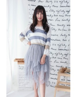 Korea Bling Bling Starry Elastic Waist Layered Mess Skirt (Grey)