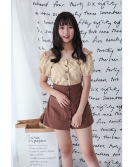 Korea Button Front Double Pocket Rubber Waist Skort (Caramel Brown)