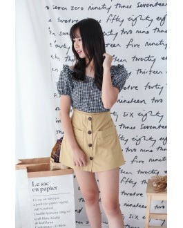 Korea Button Front Double Pocket Rubber Waist Skort (Mustard)
