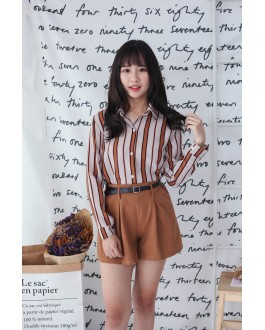 Korea Double Pocket With Belt High Waist Denim Short Pant (Brown)