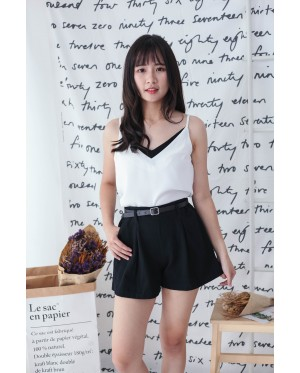 Korea Double Pocket With Belt High Waist Denim Short Pant (Black)