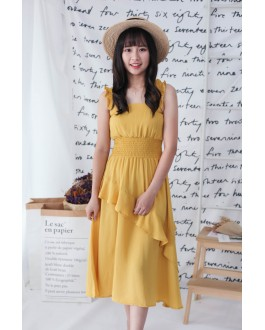 Korea Basic Sleeveless Layered Dress (Mustard)