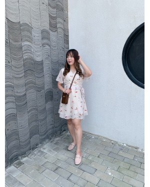 Korea Cherry Dress (Beige)