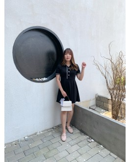 Korea Chanel Style Pearl Button Short Sleeve Dress (Black)
