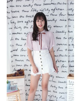 Korea Button High Waist Denim Skirt (White)