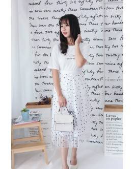 Korea Polka Dot Elastic Waist Mess Skirt (White)