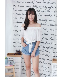 Korea Basic High Waist Denim Short Pant (Blue)