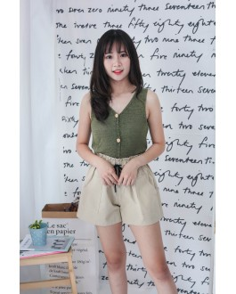 Korea Button Front V Neck Sleeveless Knit Top (Green)