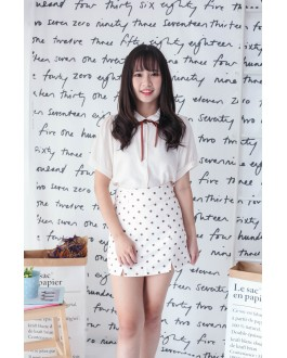 Korea Ribbon Tie Short Sleeve Blouse (Beige)