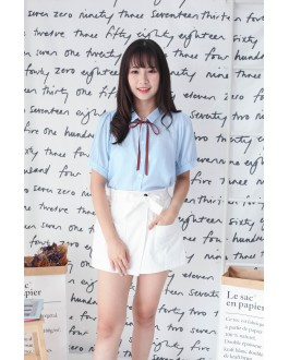 Korea Ribbon Tie Short Sleeve Blouse (Blue)
