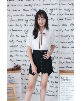 Korea Ribbon Tie Short Sleeve Blouse (White)