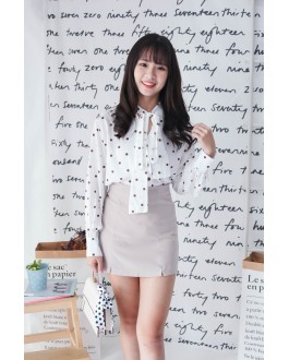 Korea Ribbon Collar Tie Polka Dot Long Sleeve Blouse (White)