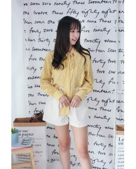 Korea Ribbon Collar Tie Polka Dot Long Sleeve Blouse (Yellow)